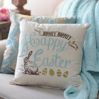 Vintage Easter Bunny Throw Pillow
