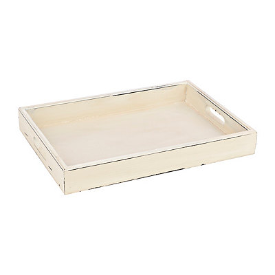 Rustic White Distressed Wood Tray