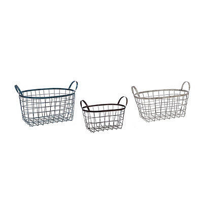 Oval Wire Baskets, Set of 3
