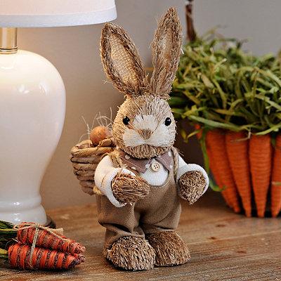 Grass Bunny Boy Statue