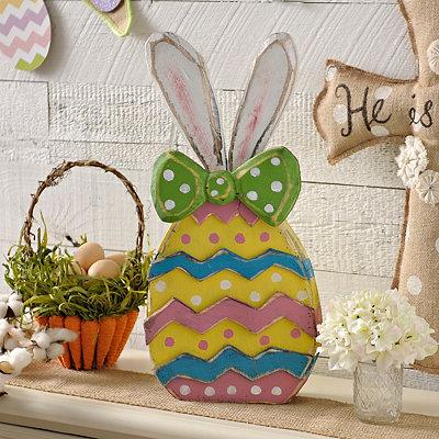 Wooden Chevron Bunny Egg Statue