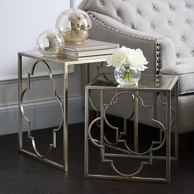 Silver Quatrefoil Nesting Tables, Set of 2