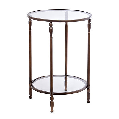 Bronze 2-Tier Glass Side Table