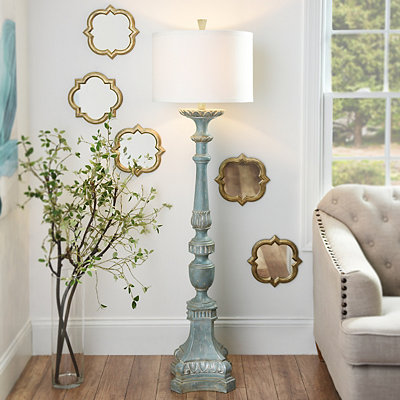 Alana Distressed Blue Floor Lamp