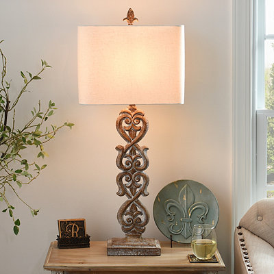 Carved Kerala Table Lamp