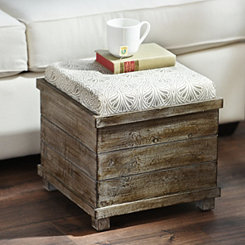 Taupe & Cream Reversible Tabletop Storage Ottoman
