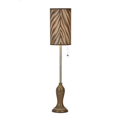 Tan Zebra Print Buffet Lamp
