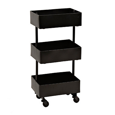 Black Metal 3-Tier Cart