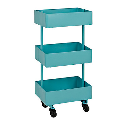 Blue Metal 3-Tier Cart