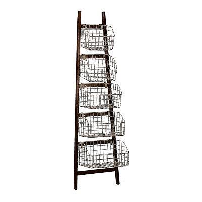 Rustic Storage Basket Ladder