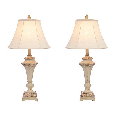 Cream Taper Table Lamps, Set of 2