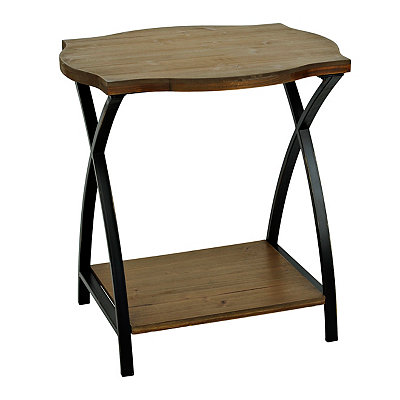 Wood and Metal Crossed Accent Table