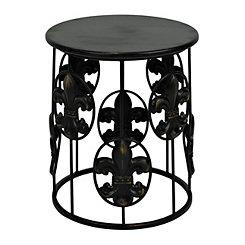 Black Fleur-de-lis Side Table