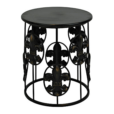 Black Fleur-de-lis Side Table