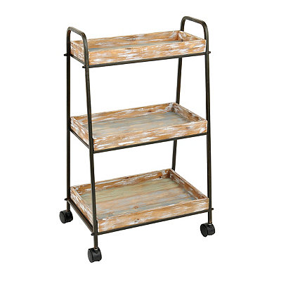 3-Tier Distressed Wood Cart