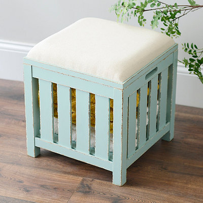 Distressed Blue Slatted Storage Ottoman