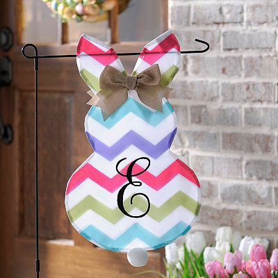 Chevron Bunny Monogram E Flag Set