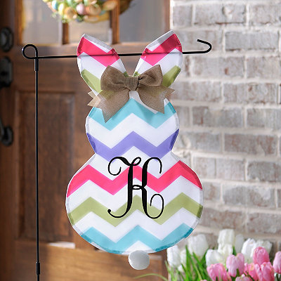 Chevron Bunny Monogram K Flag Set