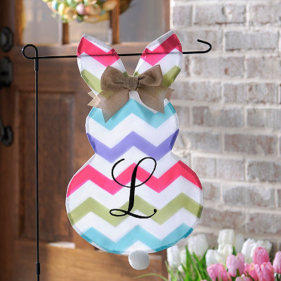 Chevron Bunny Monogram L Flag Set