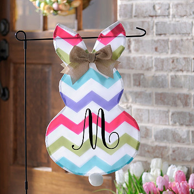 Chevron Bunny Monogram M Flag Set