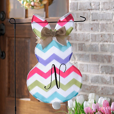 Chevron Bunny Monogram N Flag Set