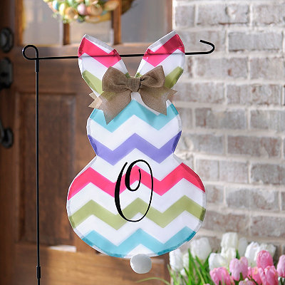 Chevron Bunny Monogram O Flag Set