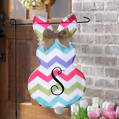 Chevron Bunny Monogram S Flag Set