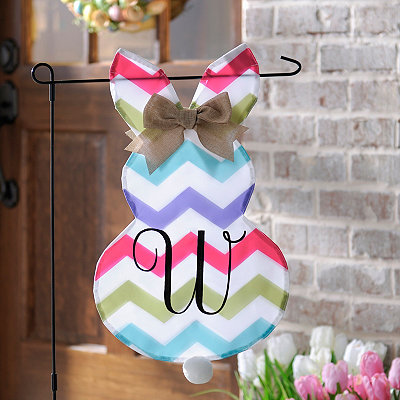 Chevron Bunny Monogram W Flag Set