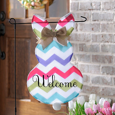 Chevron Bunny Welcome Flag Set