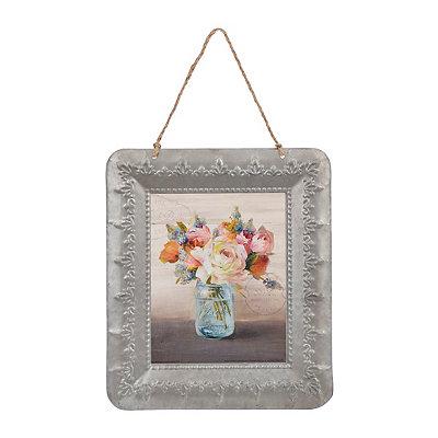 Mason Jar Floral II Galvanized Framed Art Print