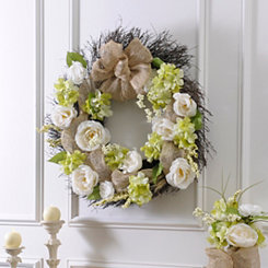 Roses and Burlap Wreath