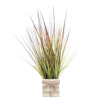 Grass Arrangment in Striped Canvas Planter