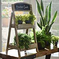 Folding Wood and Chalkboard Plant Stand