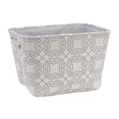 Gray Medallion Fabric Storage Bin