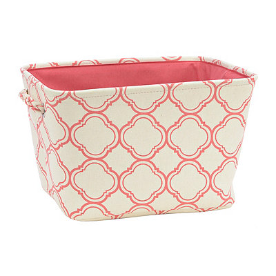 Red Quatrefoil Fabric Storage Bin