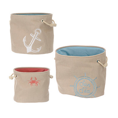Coastal Fabric Bins, Set of 3