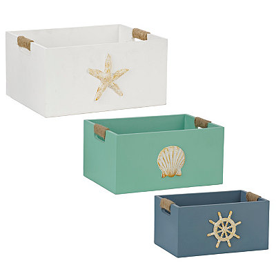 Wooden Coastal Bins, Set of 3