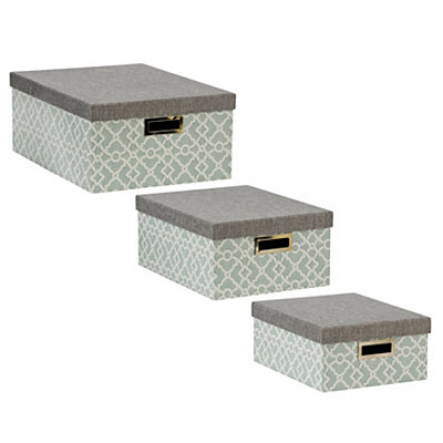 Harbor Blue Trellis Storage Boxes, Set of 3