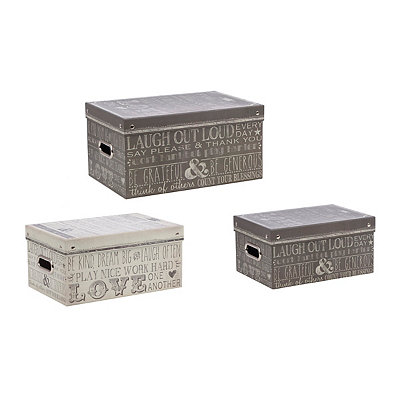 Family Rules Storage Boxes, Set of 3