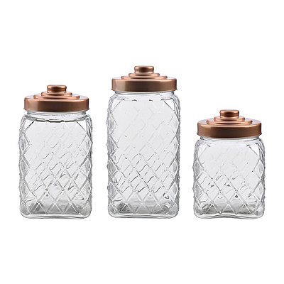 Copper Lid Diamond Canisters, Set of 3