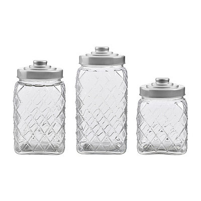 Silver Lid Diamond Canisters, Set of 3