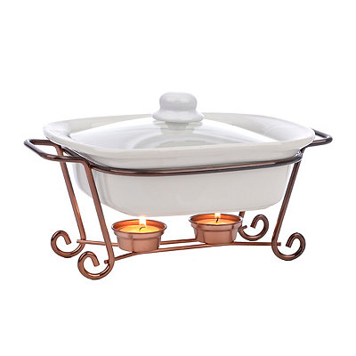 Square Casserole Dish with Copper Warming Rack