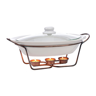 Oval Casserole Dish with Copper Warming Rack
