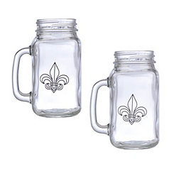 Fleur-de-lis Mason Jar Glasses, Set of 2