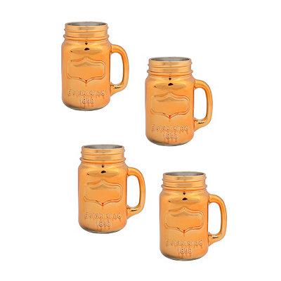 Shiny Gold Mason Jar Mugs, Set of 4