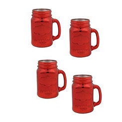 Shiny Red Mason Jar Mugs, Set of 4