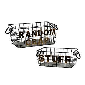 Distressed Black and Gold Metal Baskets, Set of 2