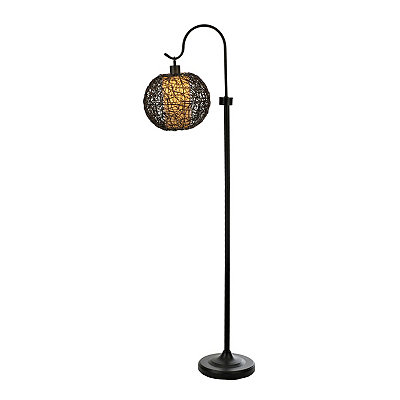 Dark Brown Wicker Globe Floor Lamp
