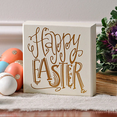 Gold Happy Easter Box Sign