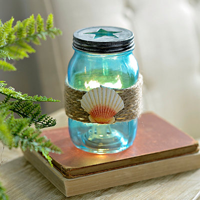 Seashell Mason Jar Night Light